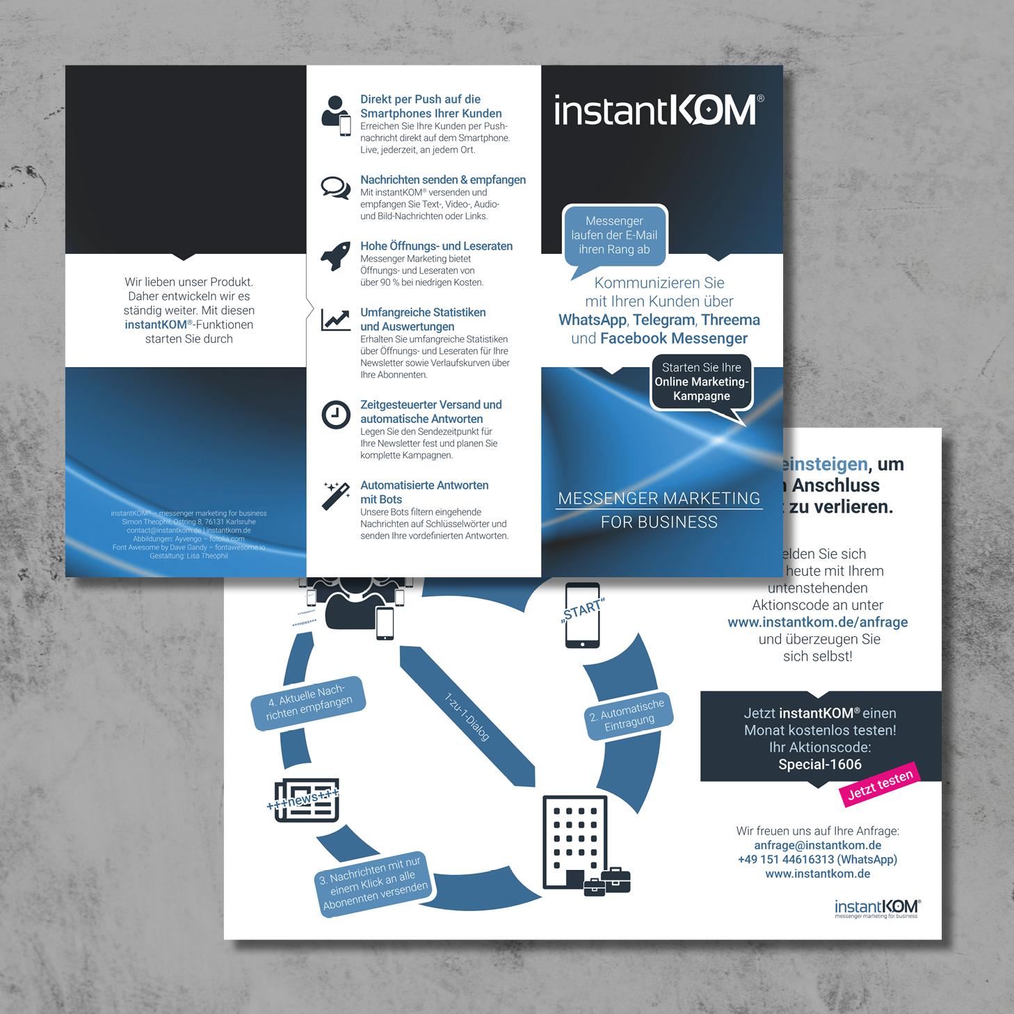 Imageflyer für instantKOM – Konzeption, Gestaltung und Text