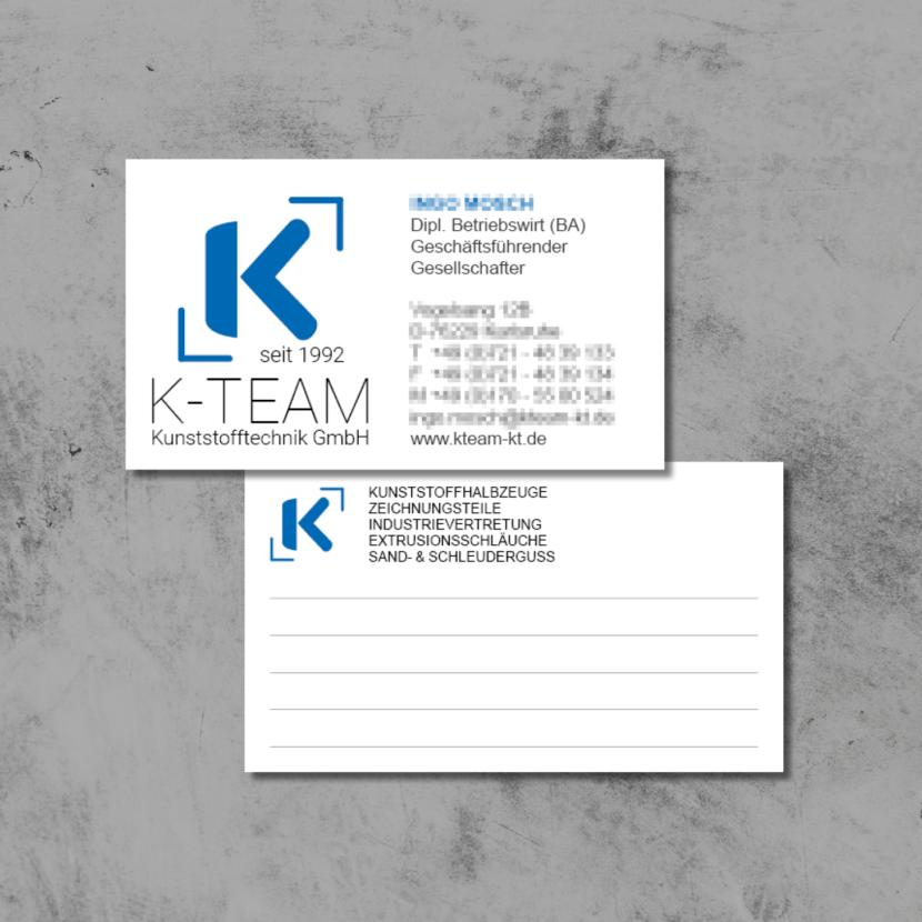 Visitenkarten K-TEAM Kunststofftechnik GmbH