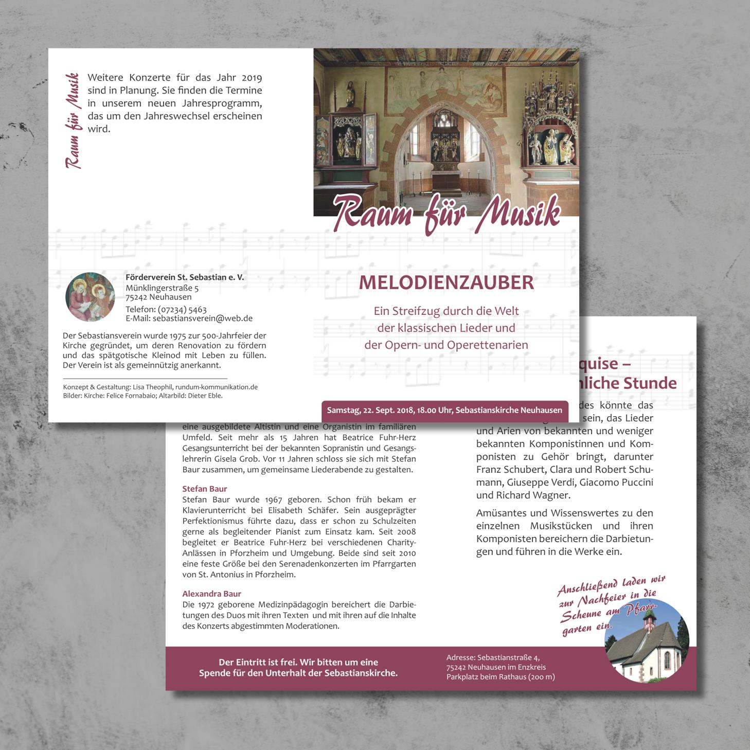 Programmflyer für den Förderverein Sebastianskirche e. V.